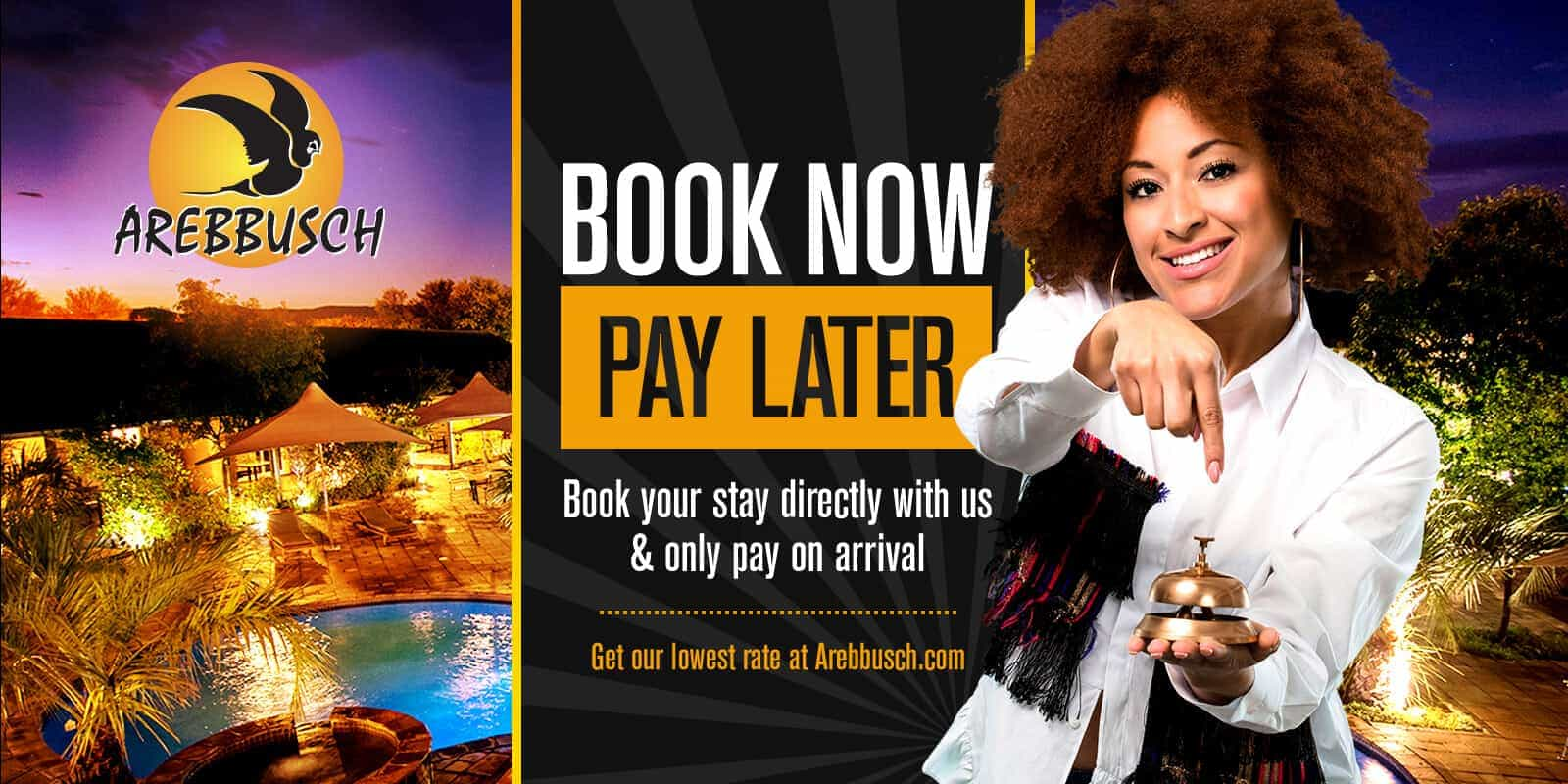 Book Now Pay Later Special | Arebbusch Travel Lodge | Overnight Accommodation in Windhoek